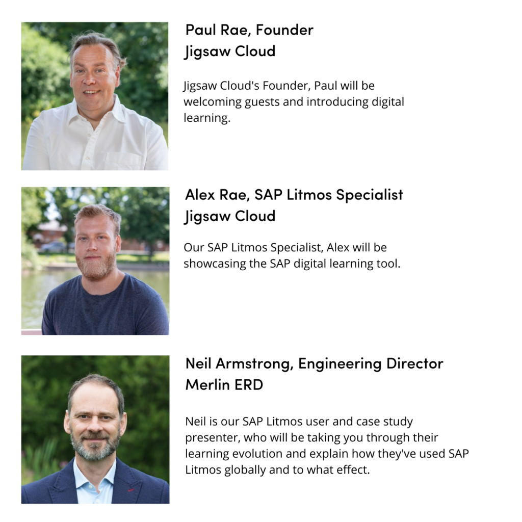 SAP Litmos webinar speakers, Jigsaw Cloud